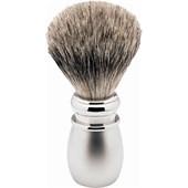 ERBE - Escova de barbear - Pincel de barbear com cabo prateado, pega de plástico branco mate