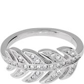 Gab & Ty by Jana Ina - Rings - Leaf Ring with White Cubic Zirconias, Silver-Plated
