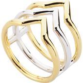 Gab & Ty by Jana Ina - Anillos - Set de bisutería triangular Anillo bicolor 3 barras, chapado en plata y oro amarillo