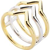 Gab & Ty by Jana Ina - Anéis - Conjunto de joias triângulo Anel bicolor de 3 barras, banhado a prata e ouro amarelo