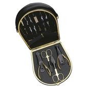 Hans Kniebes - Manicure-Etuis - 11-Piece Gold-Plated Manicure Set in Full-Grain Nappa Cowhide Leather Case