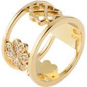 Gab & Ty by Jana Ina - Ringe - Breiter Ring Kleeblatt mit weissen Zirkoniasteinen, gelbgold plattiert