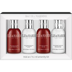Image of Baylis & Harding Körperpflege Black Pepper & Ginseng Travel Set Hair & Body Wash 100 ml + Hair Conditioner 100 ml + Face Wash 100 ml + Aftershave Balm 100 ml 1 Stk.