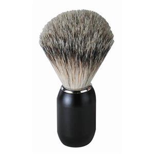 ERBE - Brochas de afeitar - Brocha de afeitar de pelo de tejón, mango metálico negro mate