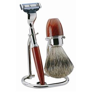 Becker Manicure - Sets de afeitado - Set de afeitado de madera de raíz, Gillette Mach3, 3piezas