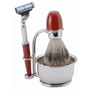 ERBE - Shaving sets - Burl wood shaving set, Gillette Mach 3, 4-part