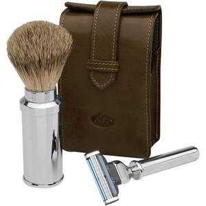Becker Manicure - Shaving sets - Shaving set in leather bag, Gillette Mach 3