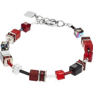 Coeur de Lion - Armbänder - Geo Cube Armband Rot-Grau