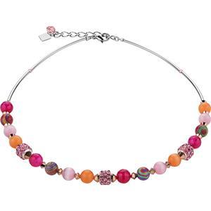 Coeur de Lion - Halsketten - Swarovski Kristalle & Achat & Strass  Collier Pink-Orange