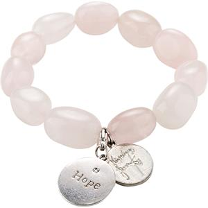 """Gab & Ty by Jana Ina - Bransoletki - Bransoletka na gumce Charity z różowego kwarcu z zawieszką """"Hope"""" z diamentem"""