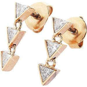 Gab & Ty by Jana Ina - Earrings - Triangle Jewellery Set Earrings with Six White Cubic Zirconias, Rose Gold-Plated