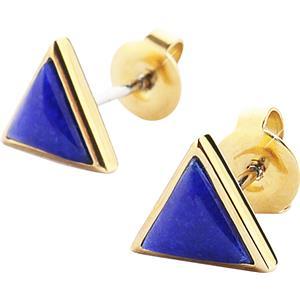 Gab & Ty by Jana Ina - Earrings - Triangle Jewellery Set Ear Studs with Dark Blue Lapis Lazuli, Yellow Gold-Plated