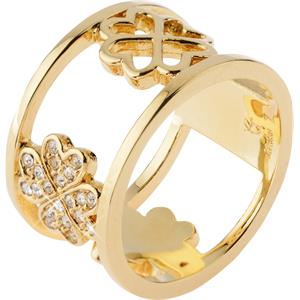 Gab & Ty by Jana Ina - Rings - Wide Cloverleaf Ring with White Cubic Zirconias, Yellow Gold Plated