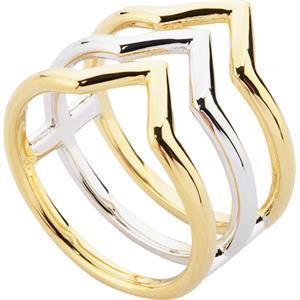 Gab & Ty by Jana Ina - Ringe - Schmuckset Dreieck Bicolorer 3-schienen Ring, silber und gelbgold plattiert