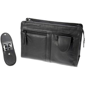 Hans Kniebes - Wash bags - Genuine Cowhide Leather Wash Bag with Built-In 4-Piece Stainless Pocket Manicure Case