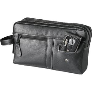 Hans Kniebes - Wash bags - Genuine Cowhide Leather Wash Bag with Built-In 3-Piece Stainless Pocket Manicure Case