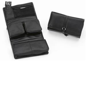 Hans Kniebes - Wash bags - Genuine Cowhide Leather Wash Bag with 3-Piece Stainless Slip-In Manicure Case