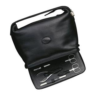 Hans Kniebes - Wash bags - Full-Grain Amalfi Cowhide Leather Toiletry Bag with 6-Piece Stainless Manicure Case