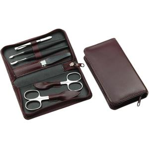 Hans Kniebes - Manicure-Etuis - 6-Piece Nickel-Plated Full-Grain Nappa Cowhide Leather Manicure Case