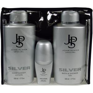 Image of John Player Special Herrendüfte Silver Geschenkset Bath & Shower Gel 500 ml + Hand & Bodylotion 500 ml + Deo Roll-On 50 ml 1 Stk.