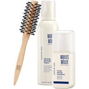 Marlies Möller Beauty Haircare Weihnachtssets Style & Hold Set Strong Styling Foam 200 ml + Finally Strong Hair Spray 125 ml + Medium Round Brush 3 Stk.