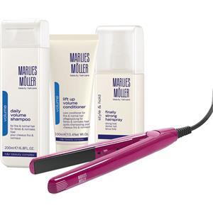 Marlies Möller Beauty Haircare Weihnachtssets Volume Set Daily Volume Shampoo 200 ml + Finally Strong Hair Spray 125 ml + Daily Volume Conditioner 100 ml + Glätteisen pink 1 Stk.