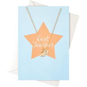 Image of Orelia Schmuck Geschenkkarten Karte Best Teacher mit Sternen Halskette 1 Stk.