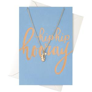"""Orelia - Gift Cards - """"Hip Hip Hooray"""" Card with a Leaf & Star Necklace"""