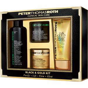 Image of Peter Thomas Roth Pflege 24K Gold Black & Gold Kit 24K Gold Lift & Firm Prism Cream 50 ml + 24K Gold Lift & Firm Prism Mask 50 ml + Irish Moor Mud Purifyfying Cleansing Gel 125 ml + Irish Moor Mud Pruifying Black Mask 50 ml 1 Stk.