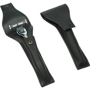Pinsel Zubehör Stecketui für Naßrasierer Amalfi-Vollrindleder, schwarz 1 Stk.