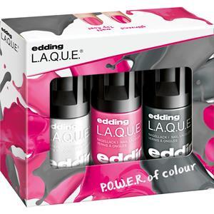 Image of edding Make-up Nägel Colour R.E.V.O.L.U.T.I.O.N. Set L.A.Q.U.E. Pink Punch 5 ml + L.A.Q.U.E. Rebellious Rock 5 ml + Mattierender Überlack 1 Stk.
